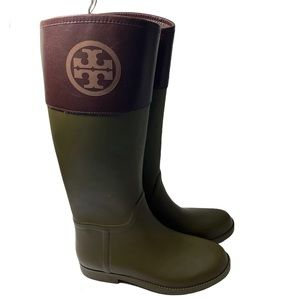 Tory Burch Two Tone Rain Boots Rubber Green Brown